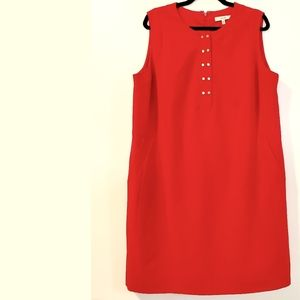 16W Lark & Ro Red Shift Dress with Pockets
